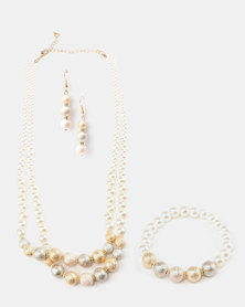 Queenspark 3pk Pearl Set With Earrings White/Colour