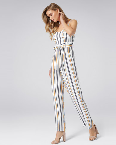 31858df60002 Forever New Ronnie Stripe Jumpsuit Porcelain Navy Ochre Stripe
