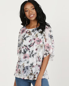Queenspark Pastel Floral Mesh Knit Top White