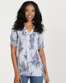 Queenspark Floral Design Button Through Ghost Woven Shirt Blue