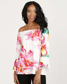 Queenspark Tropical Print Marilyn Bell Sleeve Fashion Knit Top Pink