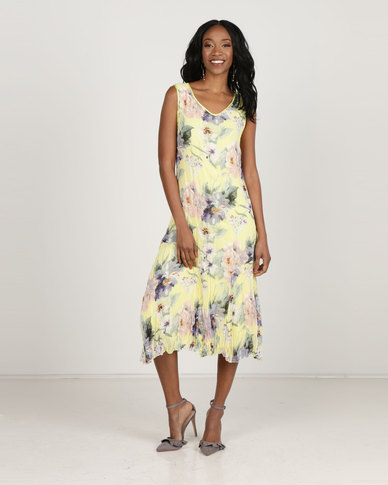 6a982a2e2d0 Queenspark Floral Print Crushed Woven Maxi Dress Yellow