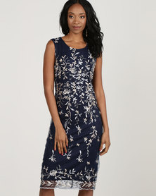Queenspark Embroidered Mesh Knit Dress Navy