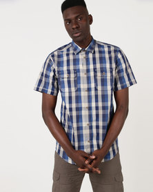 JCrew Navy & Stone Check Shirt Blue