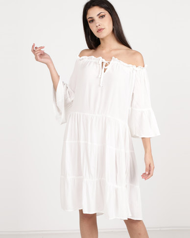 Utopia Viscose Bardot Dress Ivory
