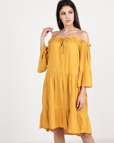 Utopia Viscose Bardot Dress Saffron