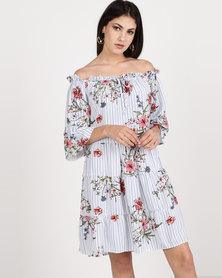 Utopia Floral Stripe Viscose Bardot Dress Navy/White