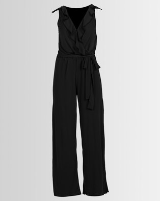 24a881fa6947 Utopia Knit Ruffle Jumpsuit With Slits Black