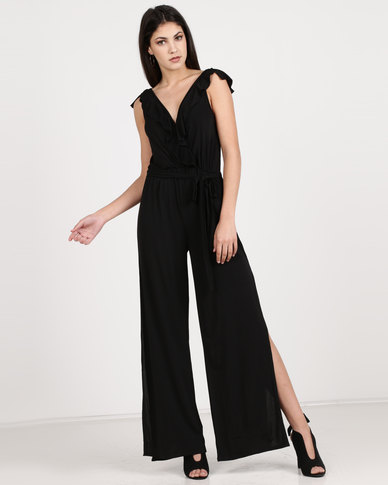 Utopia Knit Ruffle Jumpsuit With Slits Black