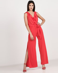 Utopia Knit Ruffle Jumpsuit With Slits Red
