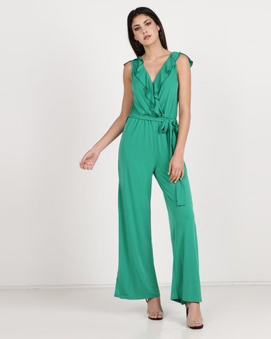 Utopia Knit Ruffle Jumpsuit With Slits Green