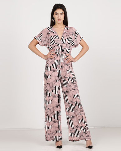 Utopia Culotte Jumpsuit Nude Floral Stripe