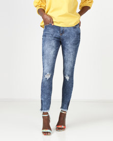 Legit Belted Abraised Skinny Jeans Ink