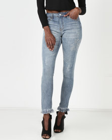 Legit Side Embellished Skinny Jeans Light Wash