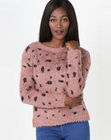 Legit Fluffy Spotted Pullover Old Rose