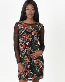Legit Long Sleeve Embroidered Mesh Dress Multi