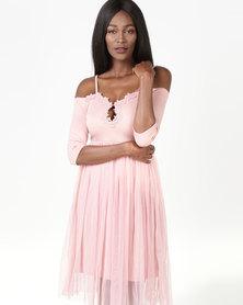 Legit Off The Shoulder Lace Detail Prom Dress Blush