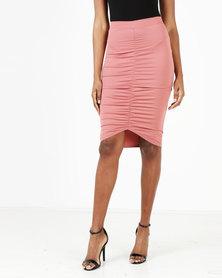 Legit Rouged Center Pencil Skirt Dark Blush