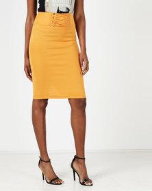 Legit Lace Up Front Pencil Skirt Mustard