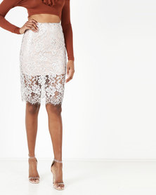 Legit Metallic Lace Pencil Skirt Silver