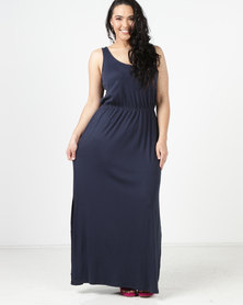 New Look Curves Sleeveless Jersey Maxi Dress  Navy