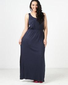 New Look Curves Sleeveless Jersey Maxi Dress  Navy
