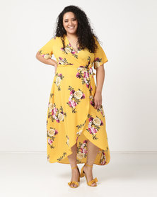 New Look Curves Floral Dip Hem Midi Dress Yellow