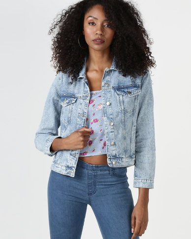 Brave Soul Cotton Denim Jacket With Frill On Back Light Blue