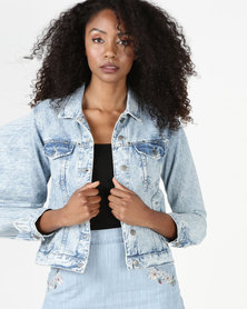 Brave Soul Cotton Denim Jacket With Frill On Back Acid Wash