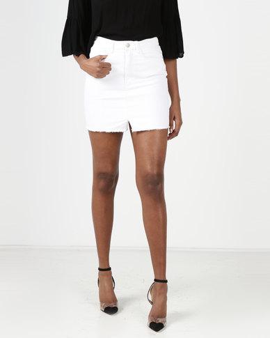 Brave Soul Denim Skirt White