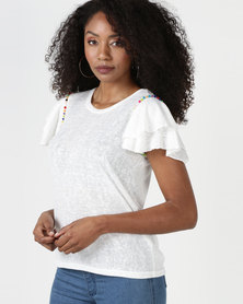 Brave Soul Linen Look T-Shirt With Frill Hem Cream