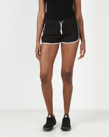 Brave Soul Running Shorts With Contrast Binding Black/White