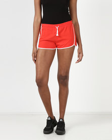 Brave Soul Running Shorts With Contrast Binding Red/white