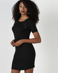 Brave Soul Dress With Tie Up Detail Black
