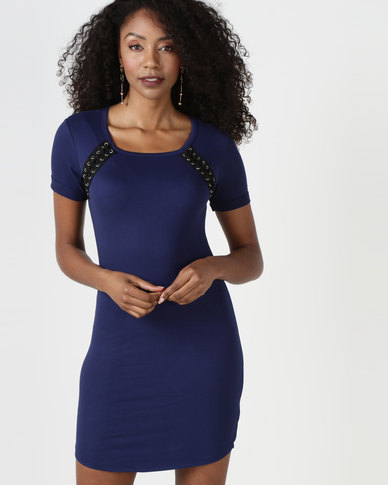 Brave Soul Dress With Tie Up Detail Blue
