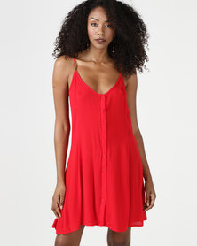 Brave Soul Strappy Woven Button Through Dress Red