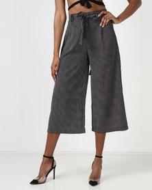 Brave Soul Cropped Strip Trousers Black/Ecru