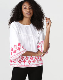 Brave Soul Embroidered Blouse White/Red