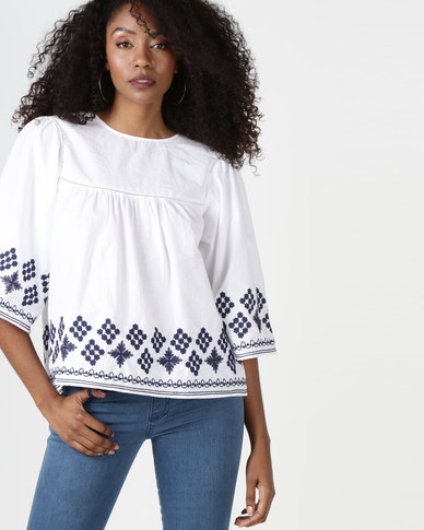 Brave Soul Embroidered Blouse White/Blue