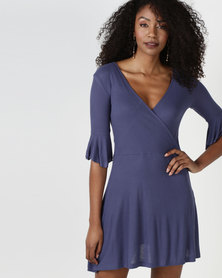 Brave Soul 3/4 Sleeve Wrap Over Dress Indigo