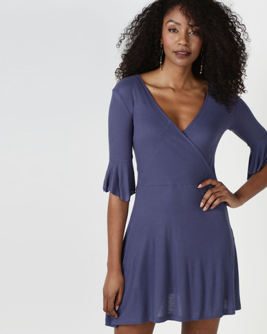Brave Soul 3/4 Sleeve Wrap Over Dress Indigo