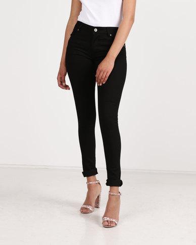 Brave Soul Stretch Skinny Jeans With Zip Pocket Black