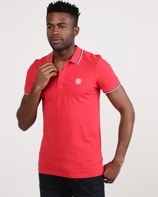 Smith & Jones Mayson Pique Polo With Branded Collar Red