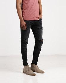 Born Rich Nolito Skinny Ripped Jeans Black