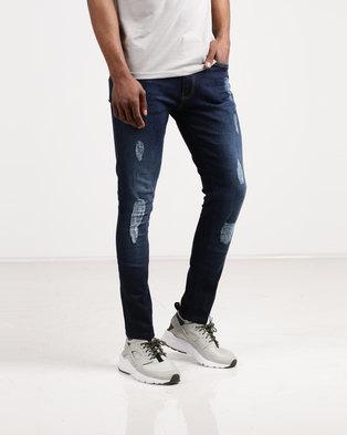 5f22639b34 Born Rich Carzola Skinny Abbrasion Jeans Blue