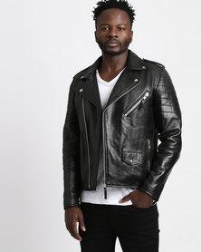 Issa Leo Marlon Biker Leather Jacket Black
