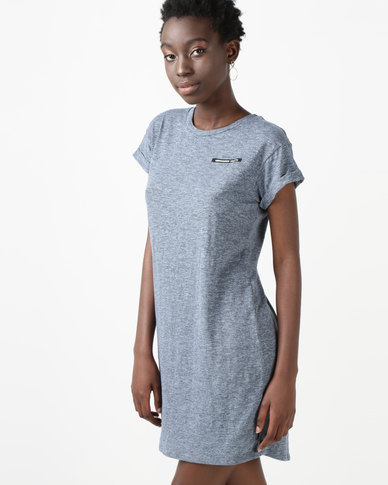 Silent Theory Machine Tee Dress Blue Marle