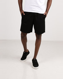 Resist Casual Shorts With Elasticated Waist Tie Black