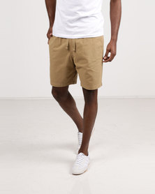 Resist Casual Short With Elasticated Waist Tie Tan/Taupe