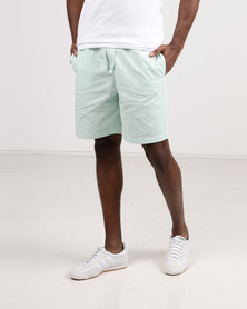 Resist Casual Shorts With Elasticated Waist Tie Mint